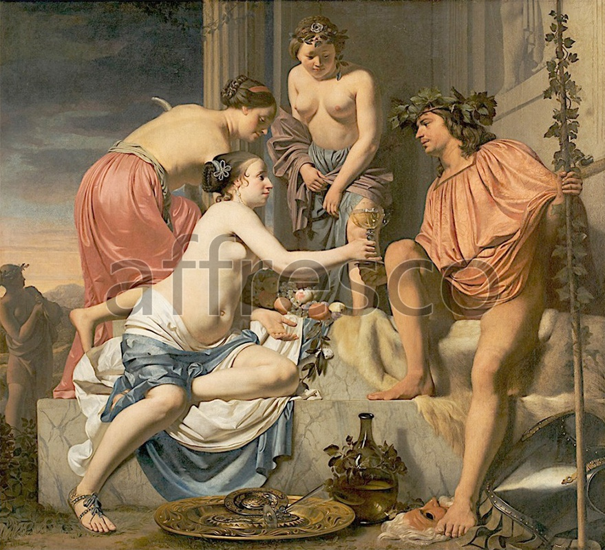Classical antiquity themes | Caesar Boetius van Everdingen Bacchus on a Throne Nymphs Offering Bacchus Wine and Fruit | Affresco Factory