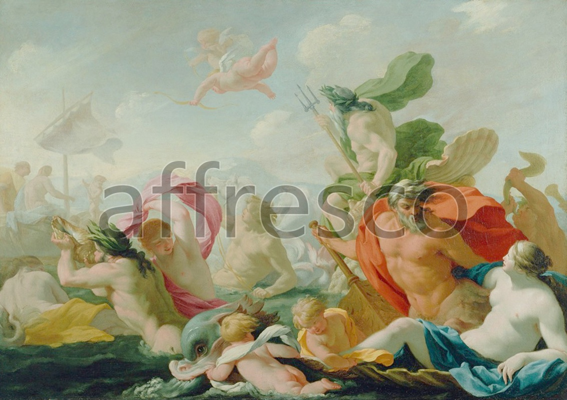 Classical antiquity themes | Eustache Le Sueur Marine Gods Paying Homage to Love | Affresco Factory