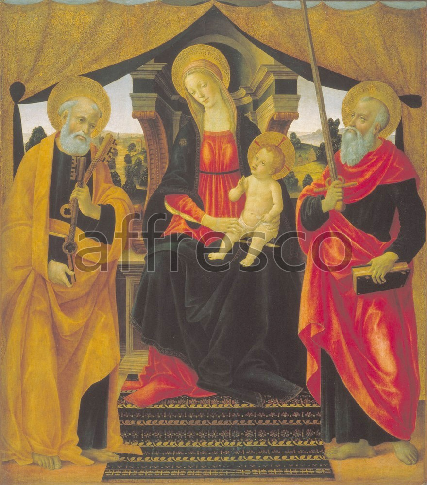 Biblical themes | Vincenzo Frediani Virgin and Child between Saint Peter and Saint Paul | Affresco Factory