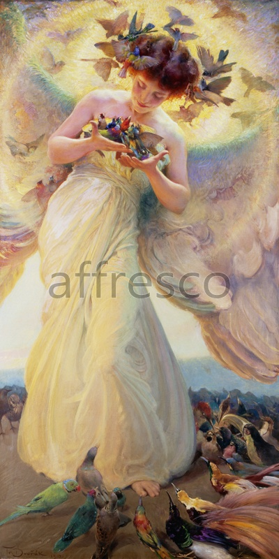 3119 | Classic Scenes | a girld with birds | Affresco Factory