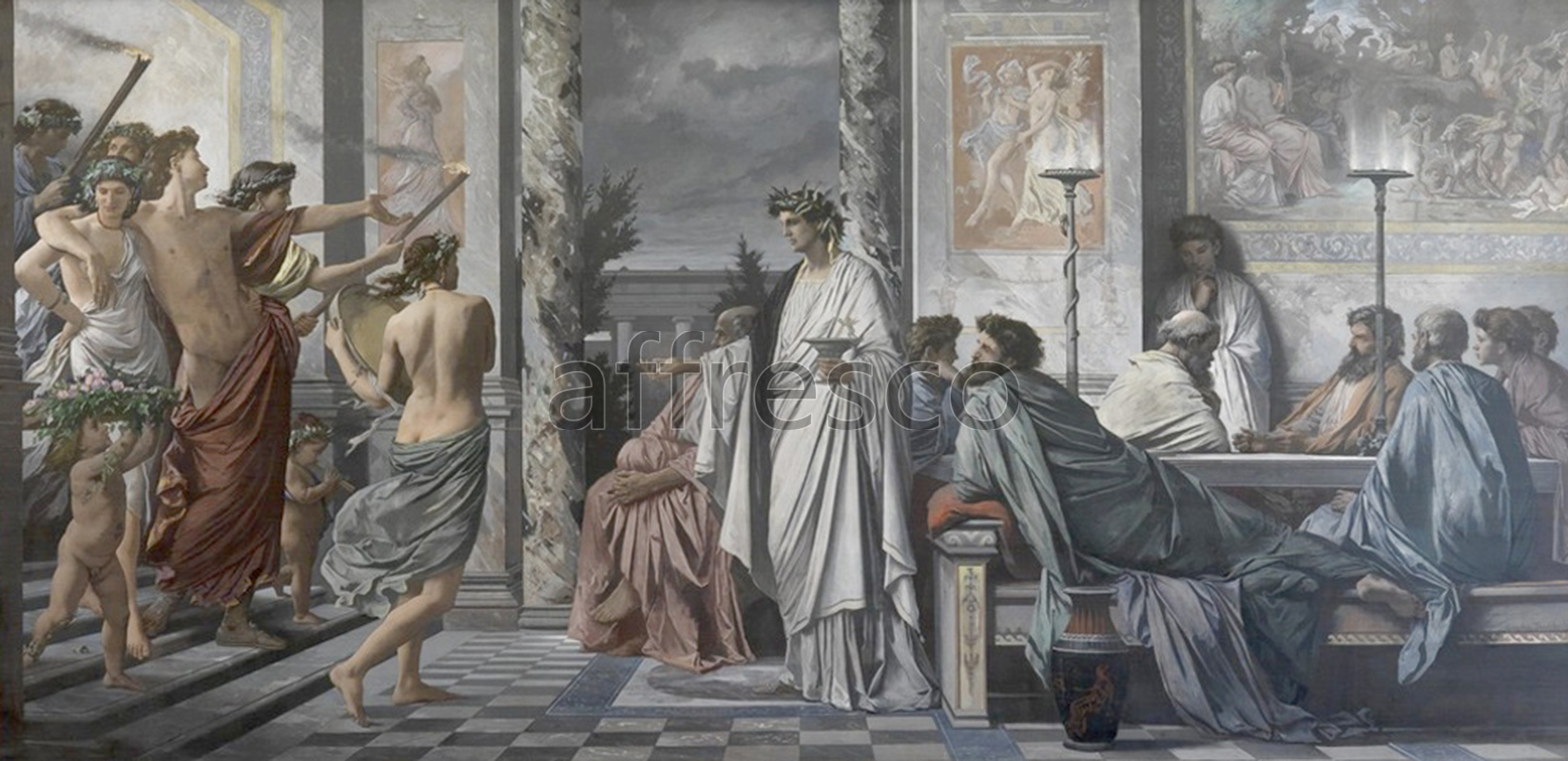 Classical antiquity themes | Platos Symposium Anselm Feuerbach | Affresco Factory